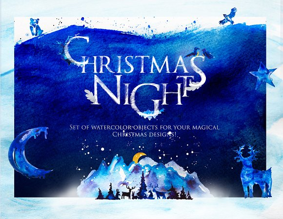 Christmas Night in Forest-W-Graphicriver中文最全的素材分享平台