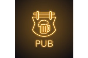 Bar signboard neon light icon