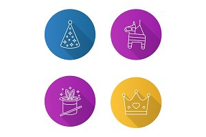 Children party accessories flat linear long shadow icons set