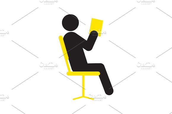 Reading book man in chair silhouette icon