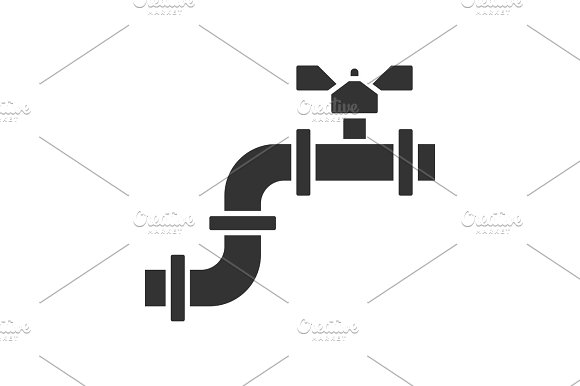 Pipe with valve glyph icon