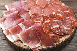 Top view of plate with ham, chorizo and loin embuchado on wooden background.  Spanish typical food.