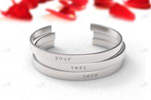 Metal Bracelets Mockup. PSD+JPG