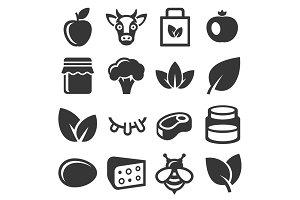 Farm and Organic Food Icons Set
