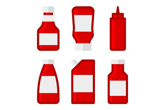 Ketchup Sauces Bottles Set