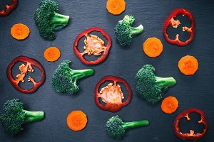 pieces of fresh broccoli and carrots