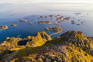 Top of mount Festvagtinden on Lofoten islands in Norway