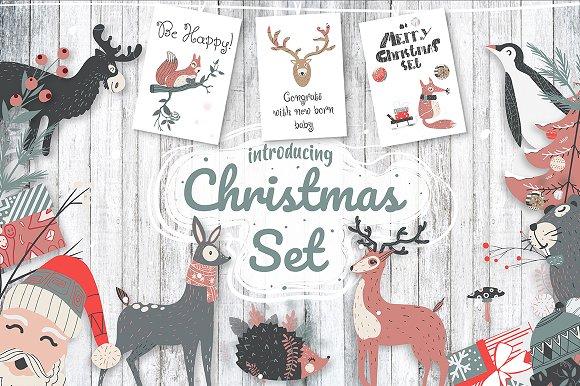 Cute Christmas Set-Graphicriver中文最全的素材分享平台