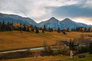 Autumn in High Tatras as seen from the village of Zdiar