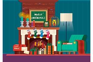 Christmas fireplace.Room interior fireplace design with armchair, lamp.Gifts and fireplace. Flat style vector illustration.