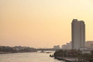 Bangkok city and river in evening.