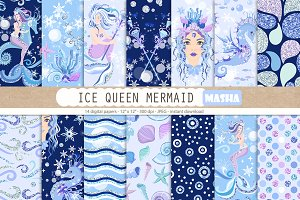 ICE QUEEN MERMAID digital papers