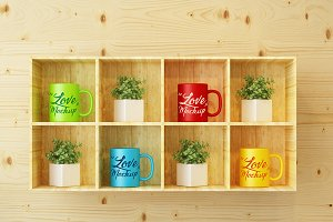 Mug mockup, wood, psd, jpg