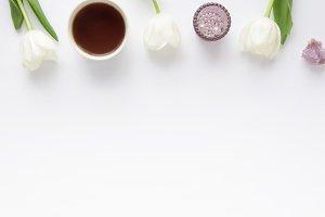 Styled photo - white tulips & purple