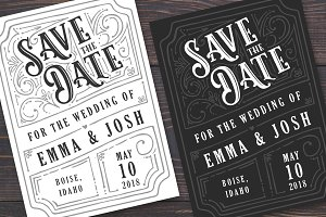 Vintage Handdrawn Save The Date