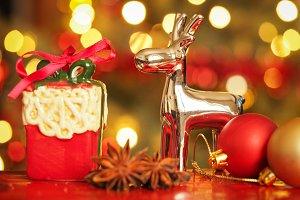 Christmas reindeer and gift