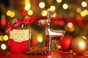 Christmas gift and reindeer
