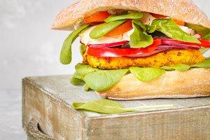 Vegan lentils burger with tofu and v