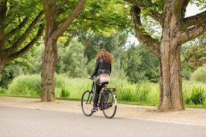 Girl biking in the Vondelpark