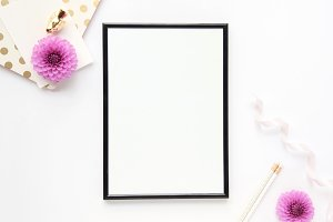 Styled photo - frame & flowers