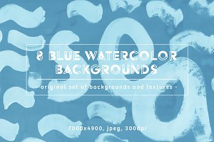 Set of 8 Blue watercolor Backgrounds