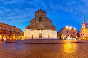 Panorama of Piazza Maggiore square, Bologna, Italy
