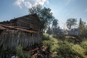 Russian rustic bath with old traditional village house