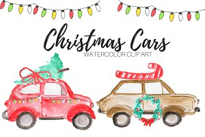 Watercolor Christmas Cars Clip Art