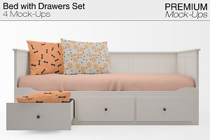 Bed with Drawers Mockup Pack
