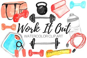 Watercolor Work Out Clip Art