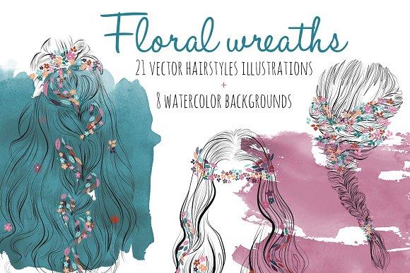 Floral wreath hairsyles vec-Graphicriver中文最全的素材分享平台