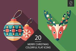 Merry Christmas flat square icon set
