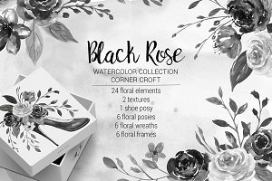 Watercolor Black Rose Collection