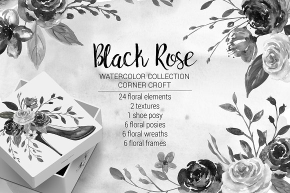 Watercolor Black Rose Colle-Graphicriver中文最全的素材分享平台