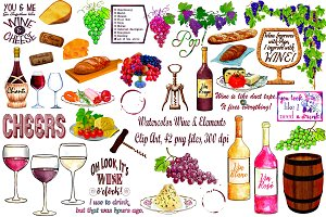 Watercolor Wine & Elements ClipArt
