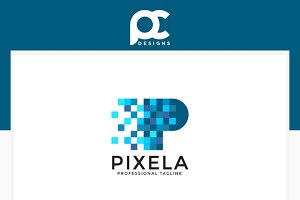 Letter P Pixel Logo Template