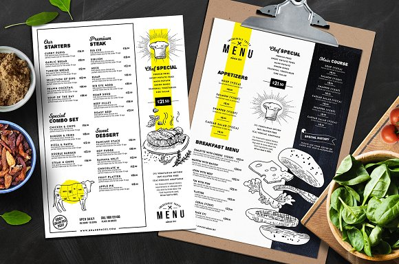 Designs of menu cards for restaurants for Fish and chip shop menu template