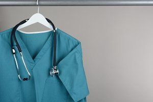Scrubs with Stethoscope on Hanger
