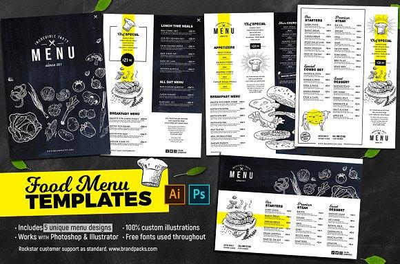 Menu Templates Brochure Creative Market