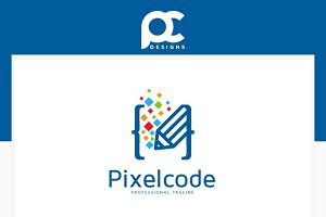 Pixel Code Logo Template