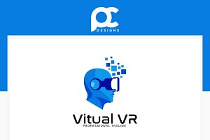 VR Virtual Tech Logo Template