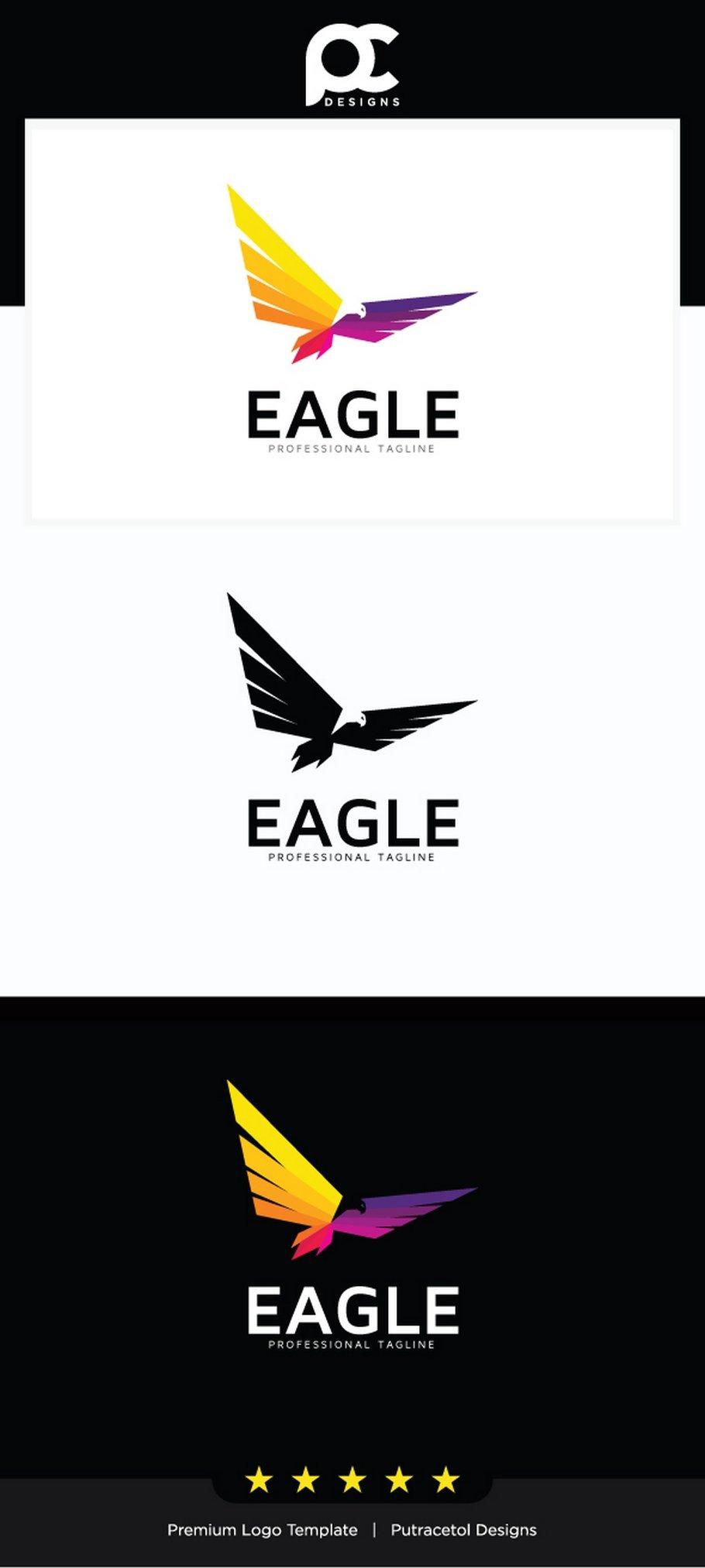 colorful eagle logo template logo templates creative market