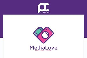 Media Love Logo Template