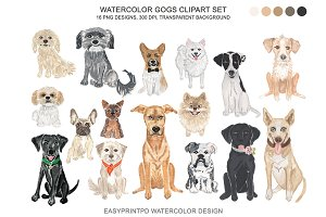 Dog Breeds Clipart Watercolor