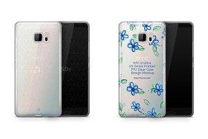 HTC U Ultra UV TPU Clear Case Mockup