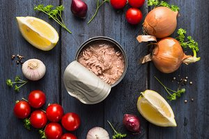 Canned tuna fish and ingredients