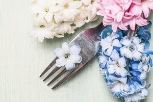Fork with hyacinths flowers