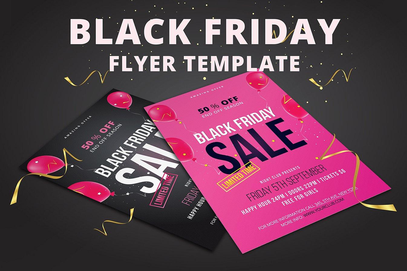 black friday flyer template flyer templates creative market. Black Bedroom Furniture Sets. Home Design Ideas