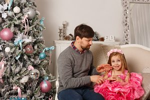 Christmas. Father and daughter