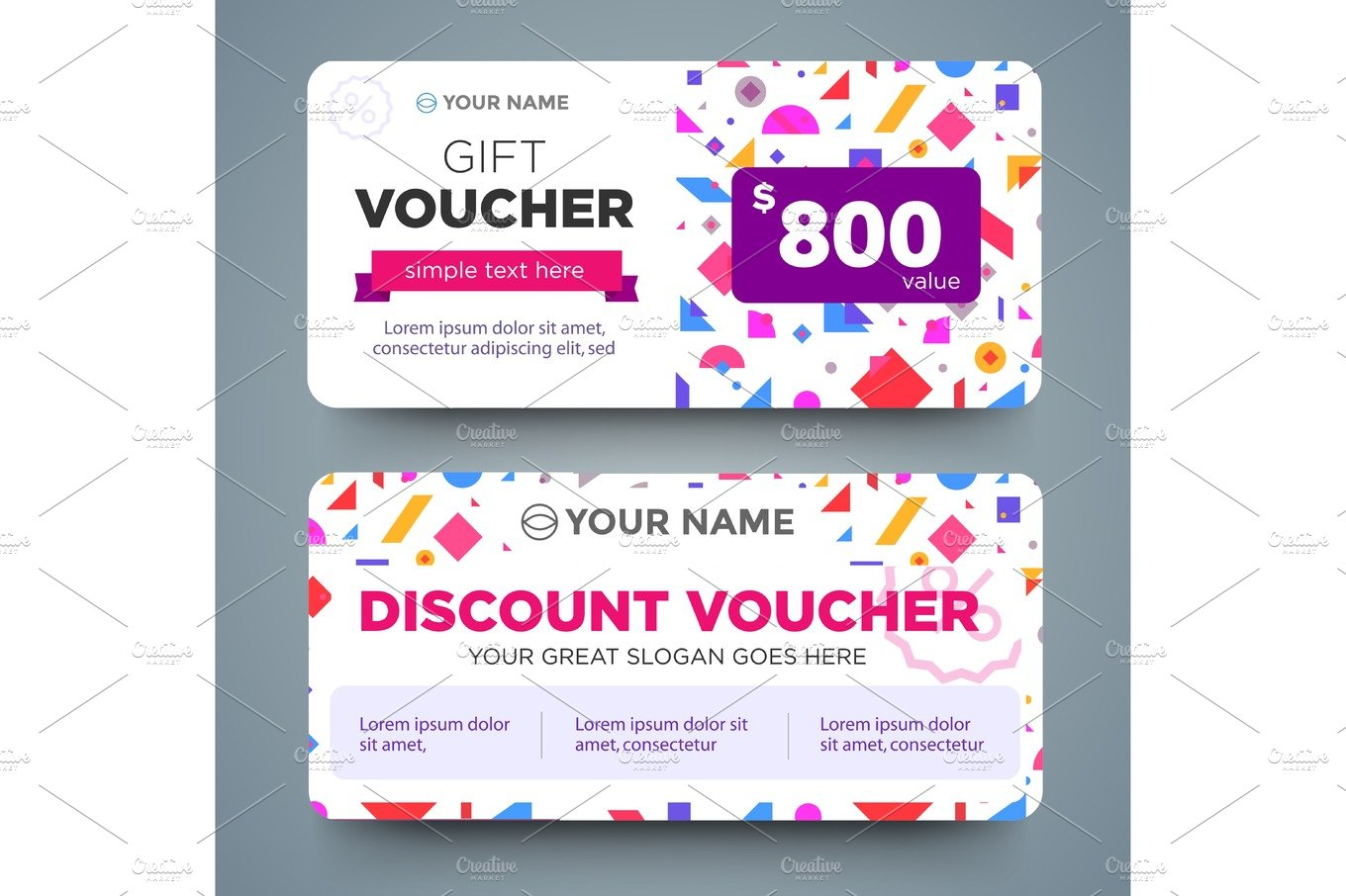 discount voucher template with colorful pattern ~ Arts ...